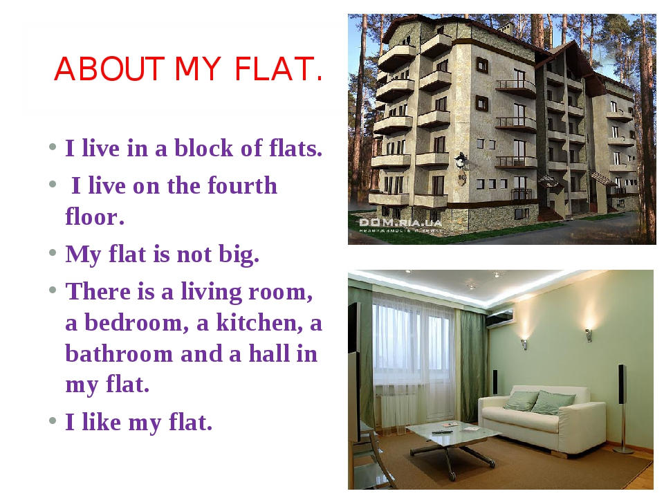 ABOUT MY FLAT. I live in a block of flats. I live on the fourth floor. My fl...