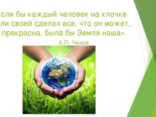 «Если бы каждый человек на клочке земли своей сделал все, что он может, как