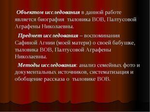 Объектом исследования в данной работе является биография тыловика ВОВ, Палту