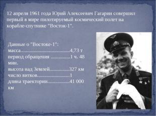 12 апреля 1961 года Юрий Алексеевич Гагарин совершил первый в мире пилотируем