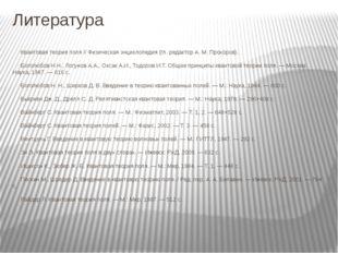 Литература Квантовая теория поля // Физическая энциклопедия (гл. редактор А.