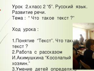 """Урок 2.класс 2 """"б"""". Русский язык. Развитие речи. Тема : """" Что такое текст ?"""""""