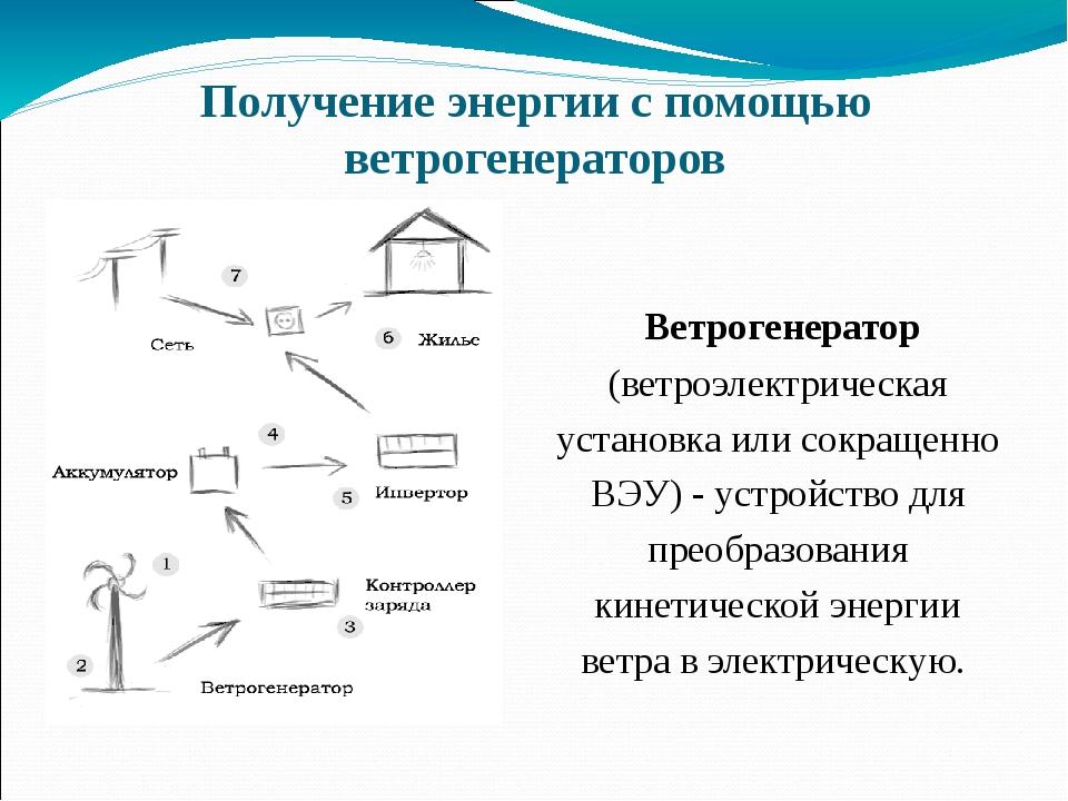 Получение энергии с помощью ветрогенераторов Ветрогенератор (ветроэлектрическ...