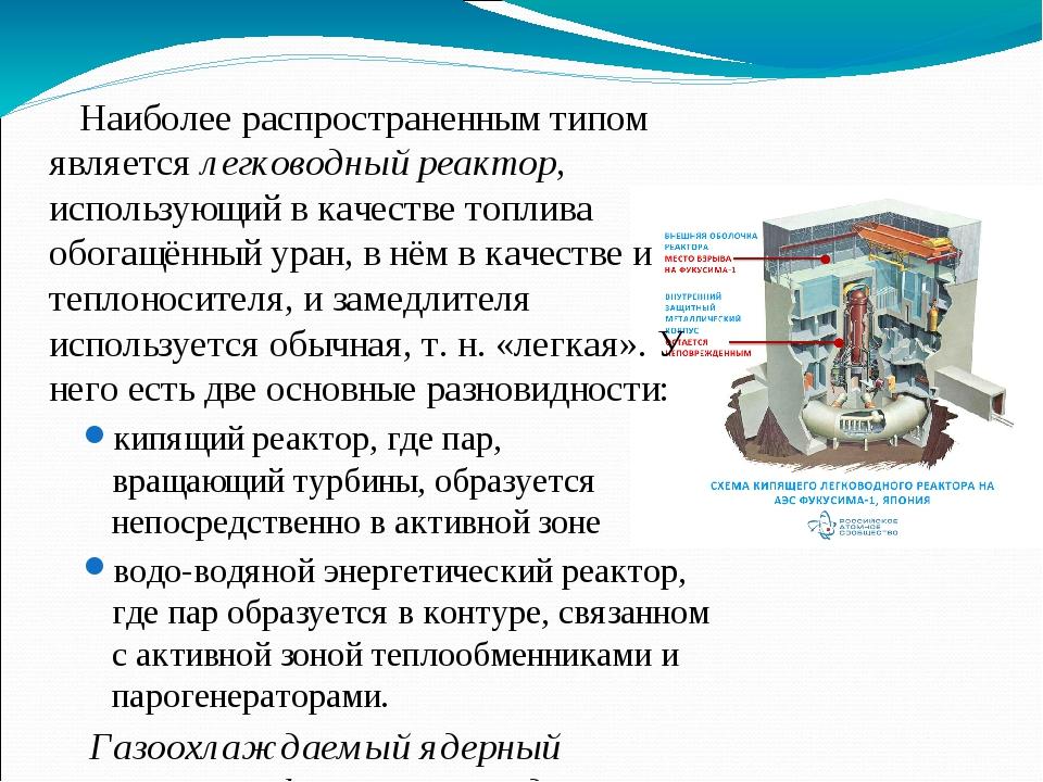 Наиболее распространенным типом является легководный реактор, использующий в...