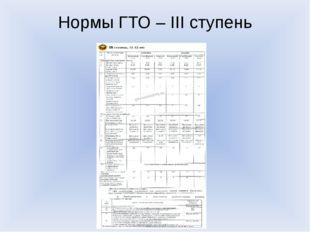Нормы ГТО – III ступень