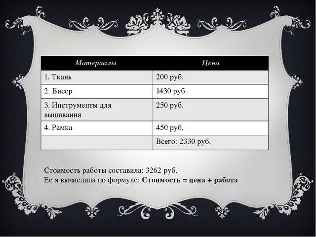 Стоимость работы составила: 3262 руб. Ее я вычислила по формуле: Стоимость =...