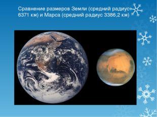 Сравнение размеров Земли (средний радиус 6371 км) и Марса (средний радиус 338