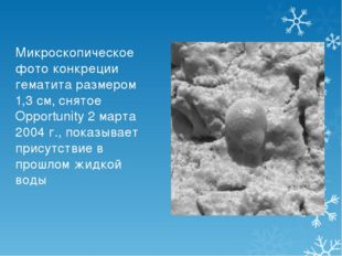 Микроскопическое фото конкреции гематита размером 1,3 см, снятое Opportunity