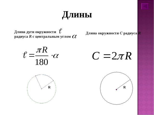 Длины Длина дуги окружности радиуса R с центральным углом  Длина окружности...