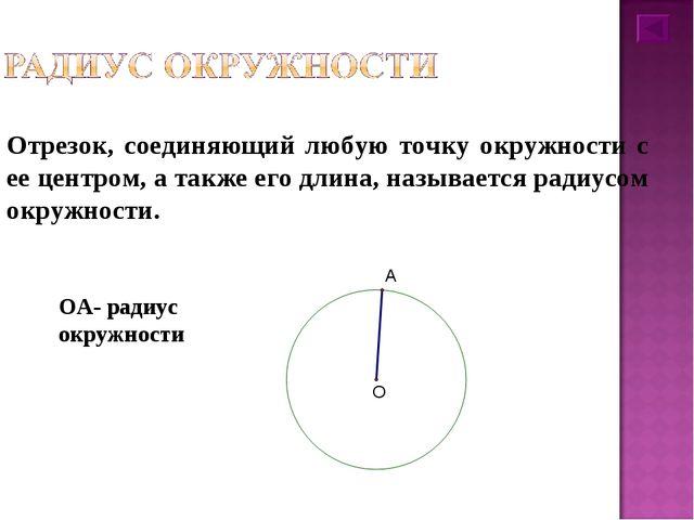 Отрезок, соединяющий любую точку окружности с ее центром, а также его длина,...