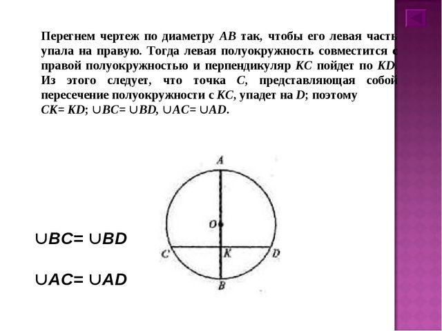Перегнем чертеж по диаметру АВ так, чтобы его левая часть упала на правую. То...