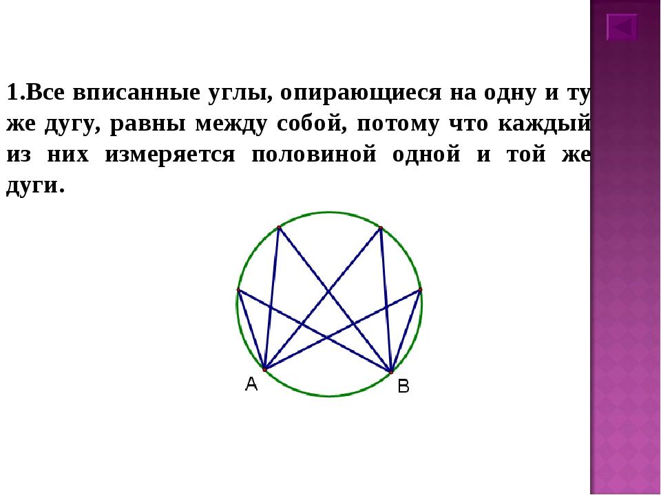 1.Все вписанные углы, опирающиеся на одну и ту же дугу, равны между собой, по...