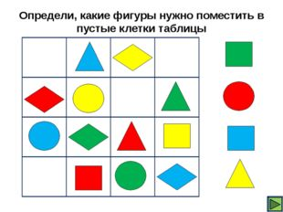 Определи, какие фигуры нужно поместить в пустые клетки таблицы