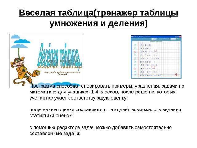 Веселая таблица(тренажер таблицы умножения и деления) Программа способна гене...