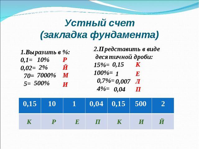 Устный счет (закладка фундамента) 1.Выразить в %: 0,1= 0,02= 70= 5= 2.Предста...