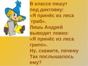 В классе пишут под диктовку: «Я принёс из леса гриб». Лишь Андрей выводит лов
