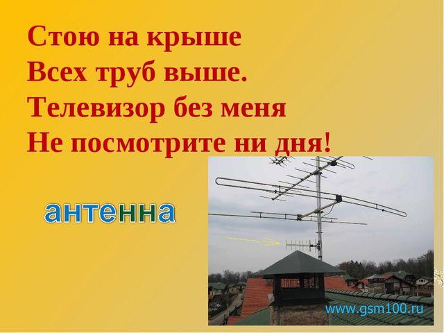Стою на крыше Всех труб выше. Телевизор без меня Не посмотрите ни дня!
