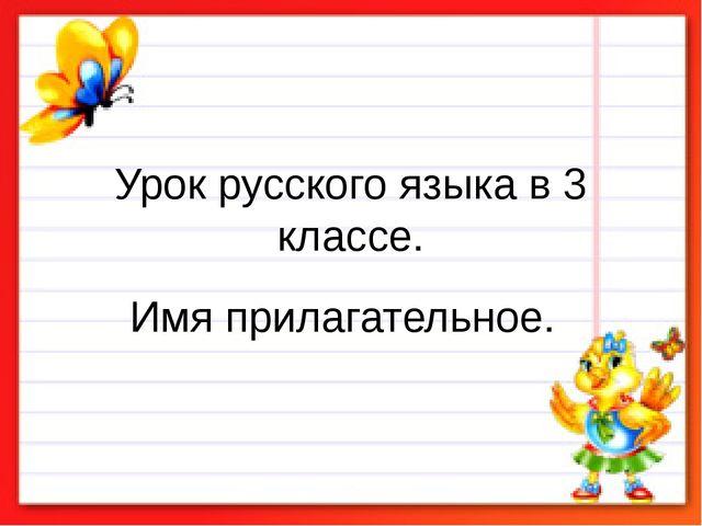 Урок русского языка в 3 классе. Имя прилагательное.