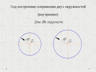 Ход построения сопряжения двух окружностей (внутреннее)
