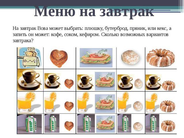 Меню на завтрак На завтрак Вова может выбрать: плюшку, бутерброд, пряник, или...