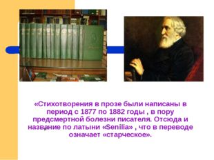 «Стихотворения в прозе были написаны в период с 1877 по 1882 годы , в пору пр