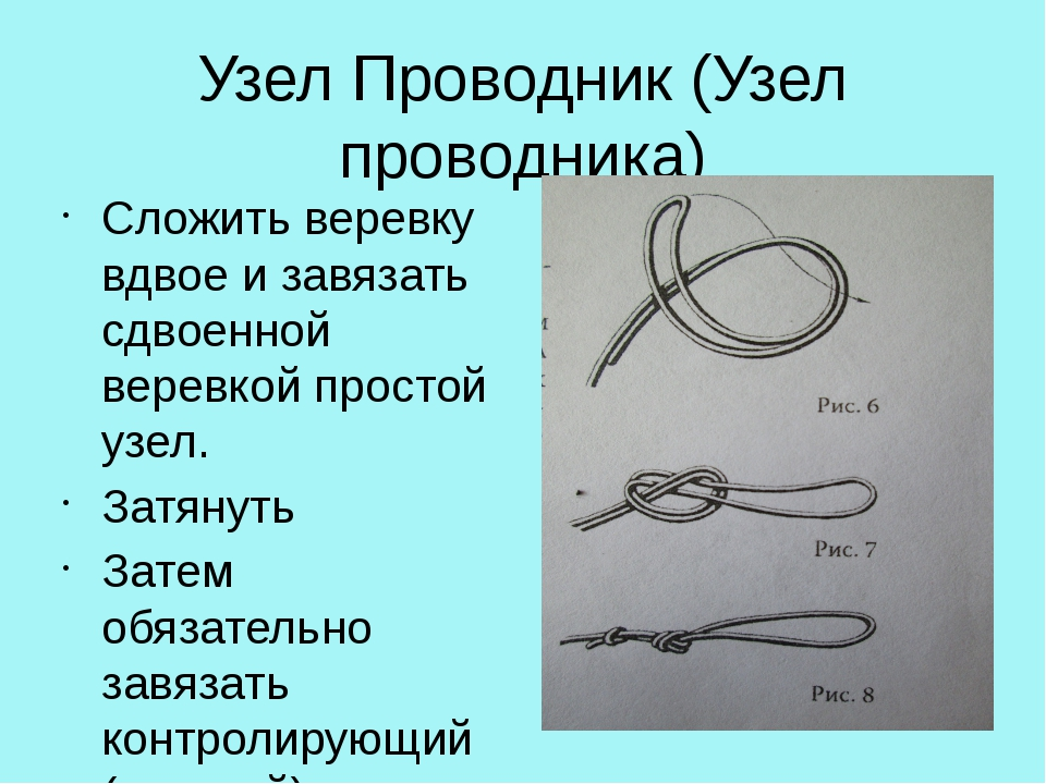 Узел Проводник (Узел проводника) Сложить веревку вдвое и завязать сдвоенной в...