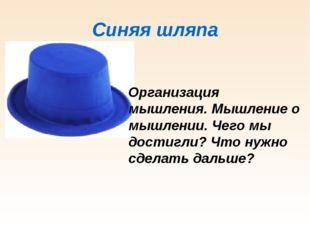 Синяя шляпа Организация мышления. Мышление о мышлении. Чего мы достигли? Что