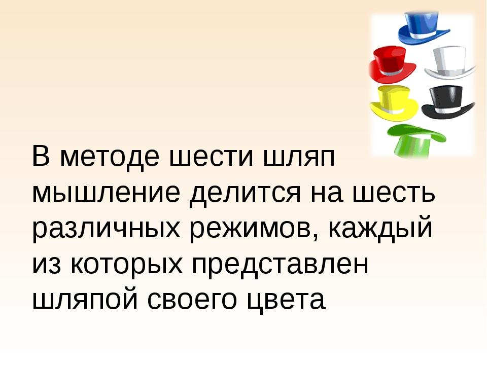 В методе шести шляп мышление делится на шесть различных режимов, каждый из к...