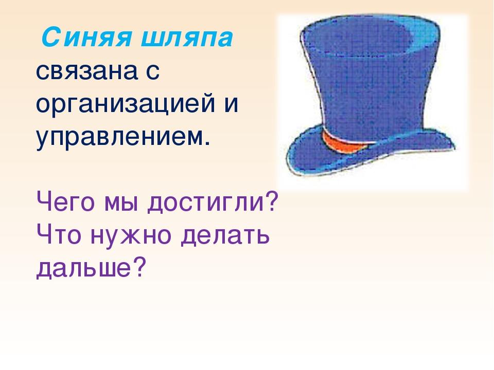 Синяя шляпа связана с организацией и управлением. Чего мы достигли? Что нужн...