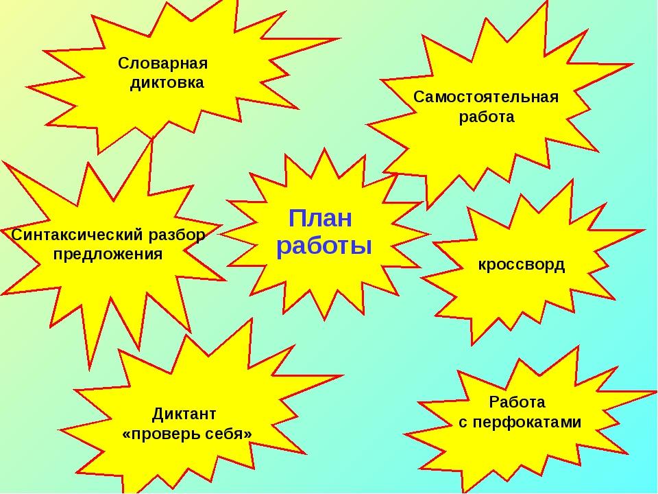 План работы Словарная диктовка Самостоятельная работа кроссворд Работа с пер...