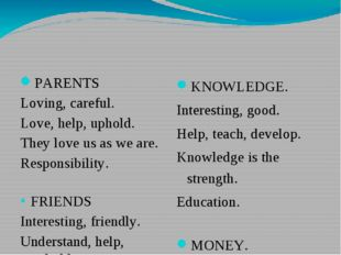 PARENTS Loving, careful. Love, help, uphold. They love us as we are. Responsi