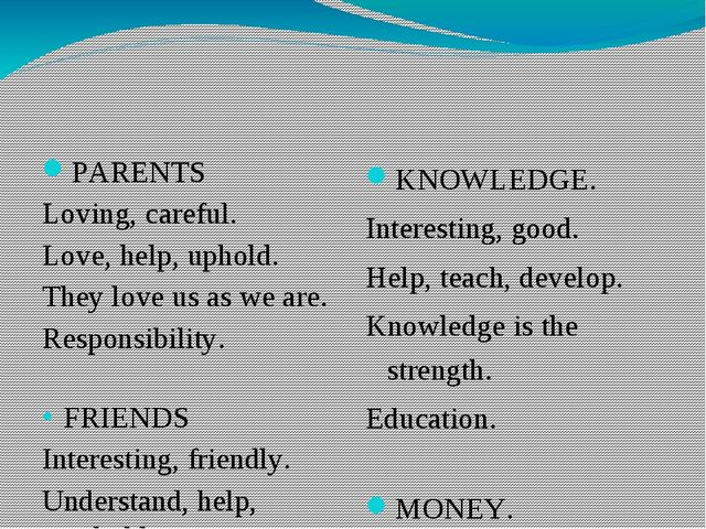 PARENTS Loving, careful. Love, help, uphold. They love us as we are. Responsi...