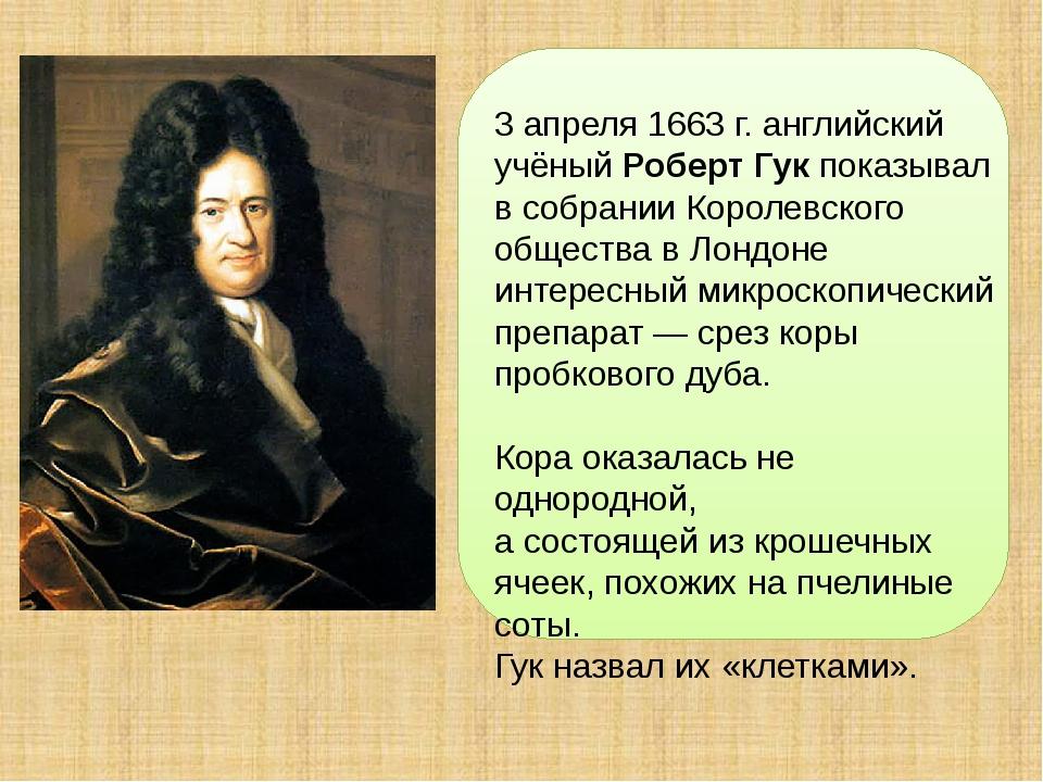 3 апреля 1663 г. английский учёный Роберт Гук показывал в собрании Королевск...