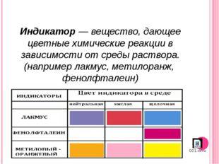Индикатор — вещество, дающее цветные химические реакции в зависимости от сре