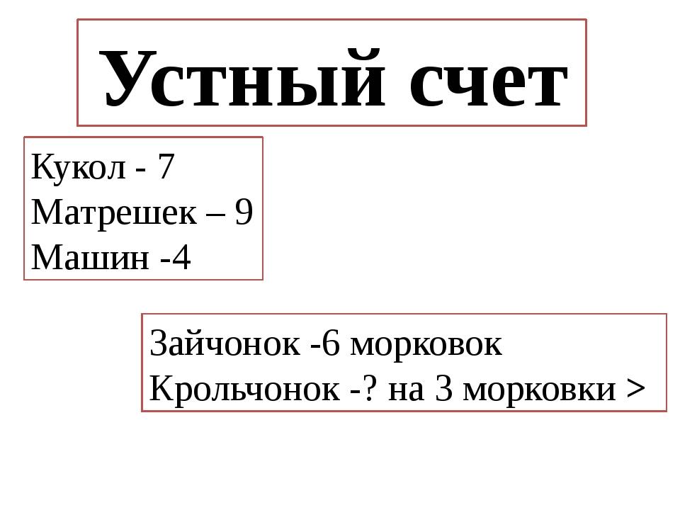 Устный счет Кукол - 7 Матрешек – 9 Машин -4 Зайчонок -6 морковок Крольчонок -...