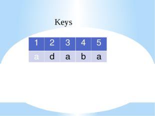 Keys 1 2 3 4 5 a d a b a