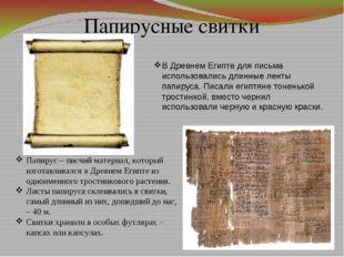 Папирусные свитки Папирус – писчий материал, который изготавливался в Древнем