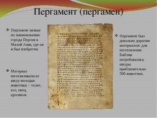 Пергамент (пергамен) Материал изготавливали из шкур молодых животных – телят,
