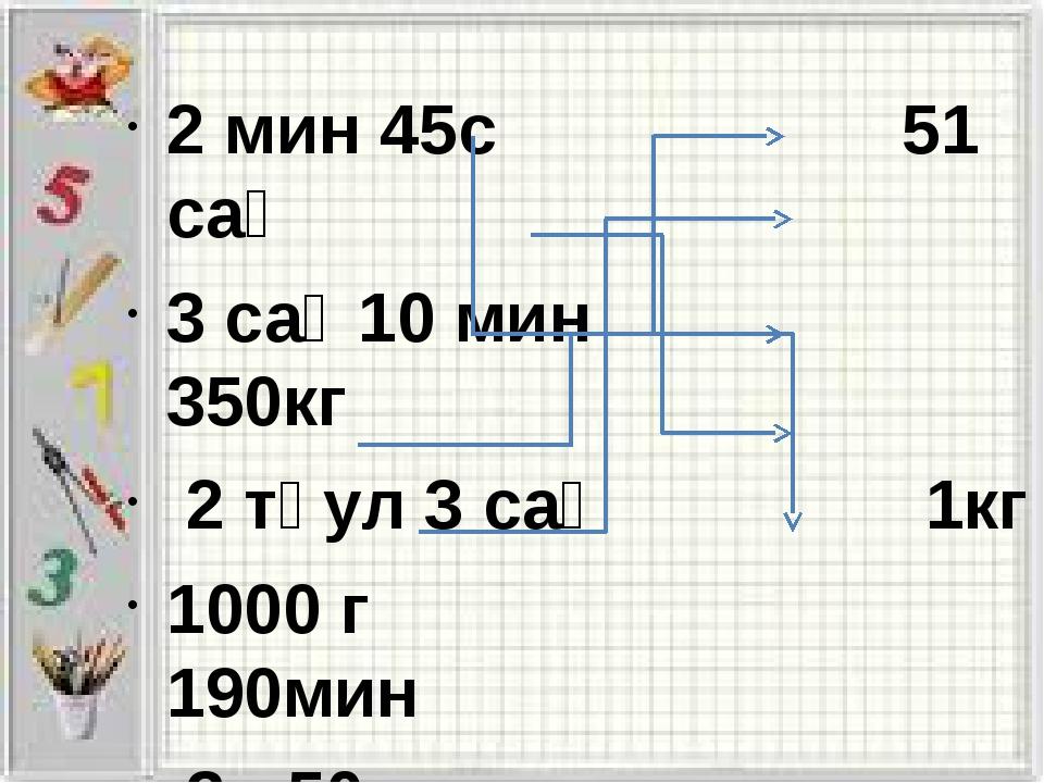 2 мин 45с 51 сағ 3 сағ 10 мин 350кг 2 тәул 3 сағ 1кг 1000 г 190мин 3ц 50 кг 1...