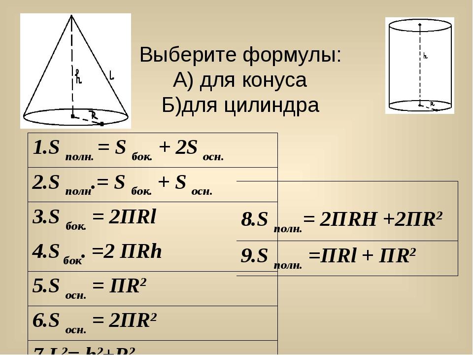 Выберите формулы: А) для конуса Б)для цилиндра          1.S полн. =...