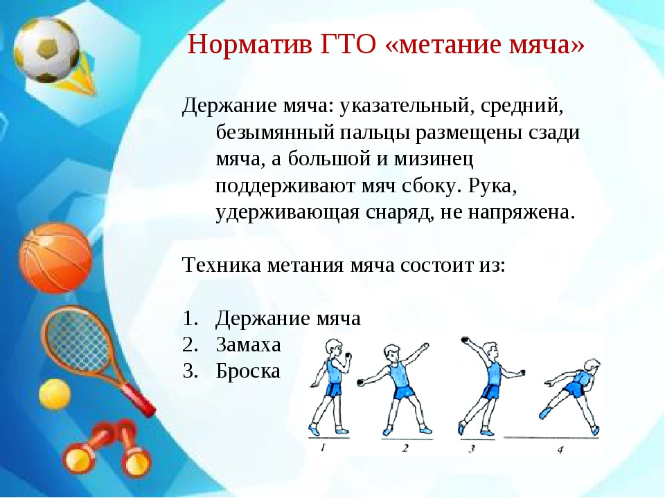 Держание мяча: указательный, средний, безымянный пальцы размещены сзади мяча,...