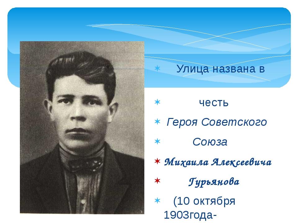 Улица названа в честь Героя Советского Союза Михаила Алексеевича Гурьянова (...