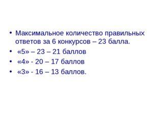 Максимальное количество правильных ответов за 6 конкурсов – 23 балла. «5» – 2
