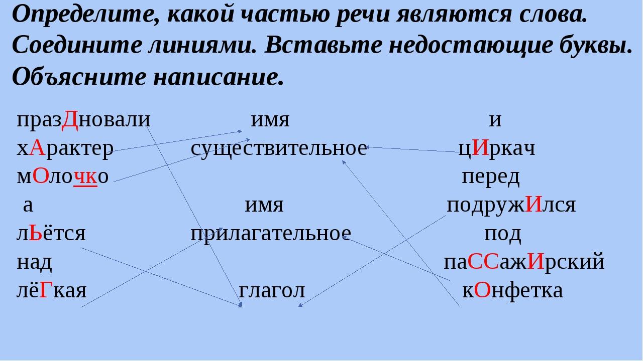 Определите, какой частью речи являются слова. Соедините линиями. Вставьте нед...
