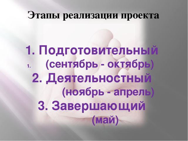 Этапы реализации проекта 1. Подготовительный (сентябрь - октябрь) 2. Деятельн...