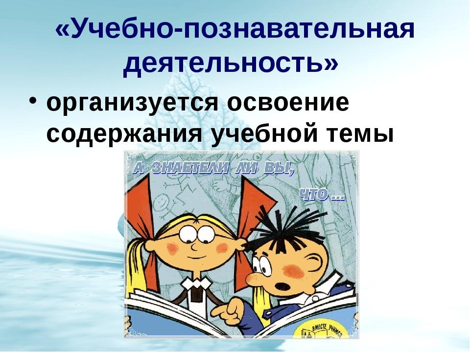 «Учебно-познавательная деятельность» организуется освоение содержания учебной...