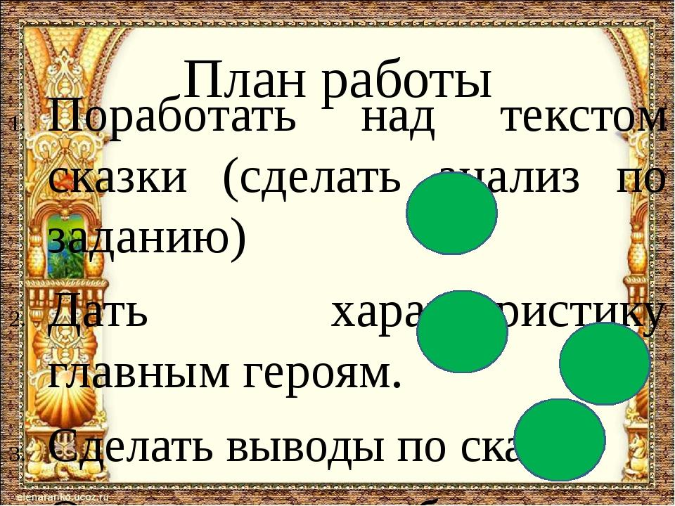 План работы Поработать над текстом сказки (сделать анализ по заданию) Дать х...
