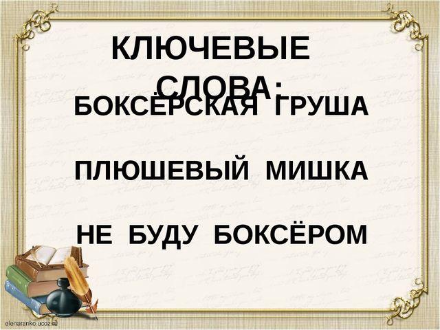 КЛЮЧЕВЫЕ СЛОВА: БОКСЁРСКАЯ ГРУША ПЛЮШЕВЫЙ МИШКА НЕ БУДУ БОКСЁРОМ
