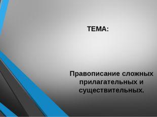 ТЕМА: Правописание сложных прилагательных и существительных.