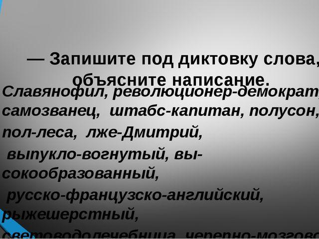 — Запишите под диктовку слова, объясните написание. Славянофил, революционер...